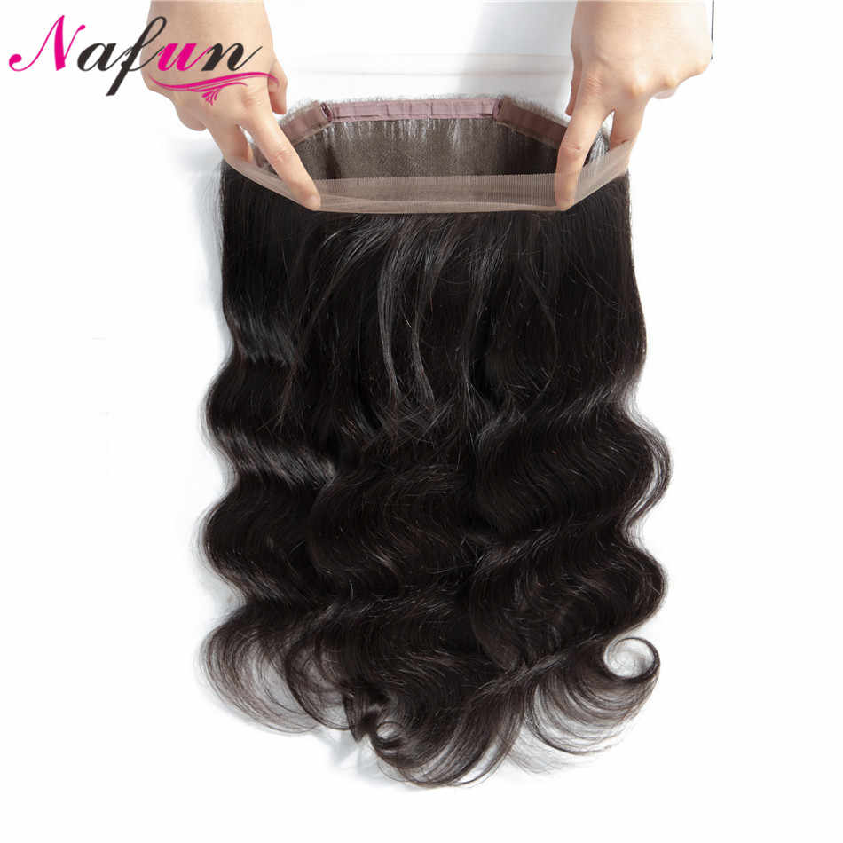 NAFUN Hair Peruvian Body Wave Pre Plucked 360 Lace Frontal Closure With Baby Hair Non-Remy 100% Human Hair Lace Frontal Closure