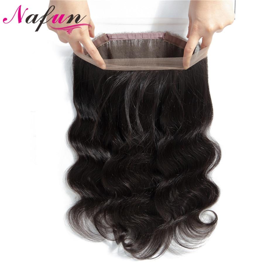 NAFUN Haar Peruanische Körper Welle Vor Gezupft 360 Spitze Frontal Schließung Mit Baby Haar Nicht Remy 100% Menschenhaar Spitze frontal Verschluss