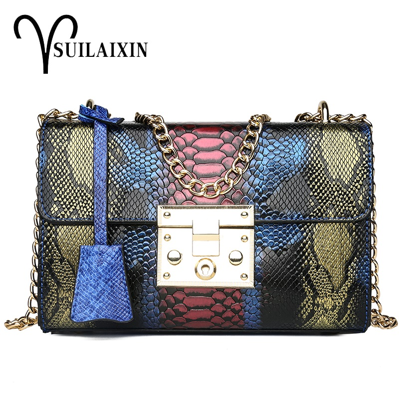 Women Designer Snake Leather Snakeskin Shoulder Bags with Chains small Serpentine Chain Colorful Messenger Crossbody Flap Bag
