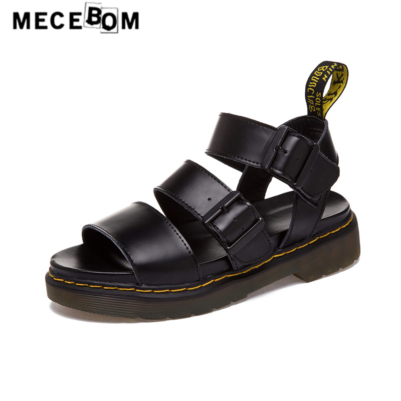 Fashion Women black sandals quality split leather shoes ladies buckel quality flats luxury sexy sandals 1633w