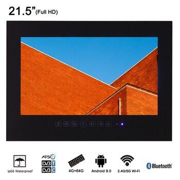 Souria 21.5 pouces Smart salle de bains LED étanche luxe TV avec Bluetooth sans cadre douche 1080 P noir