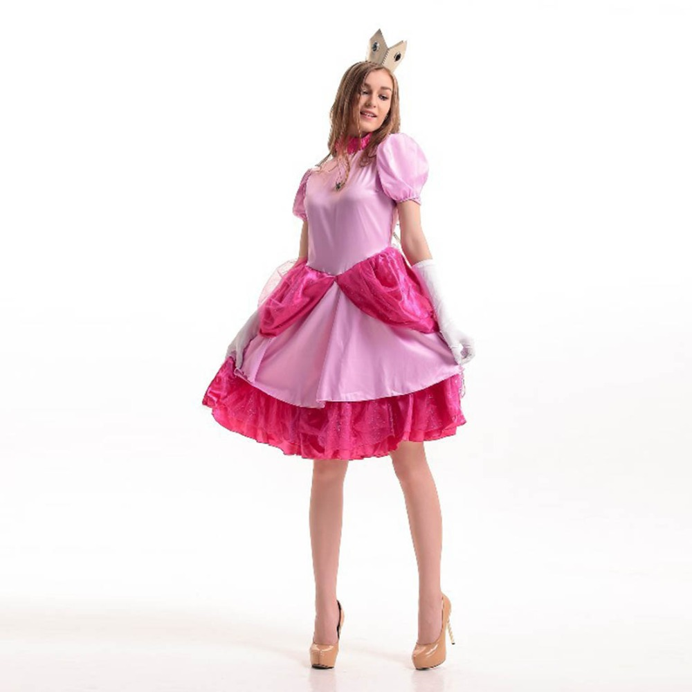 aliexpresscom buy super mario bros princess peach costume pink fancy dress princess costume party wear halloween costumes for woman one size from - Halloween Costume Pink Dress