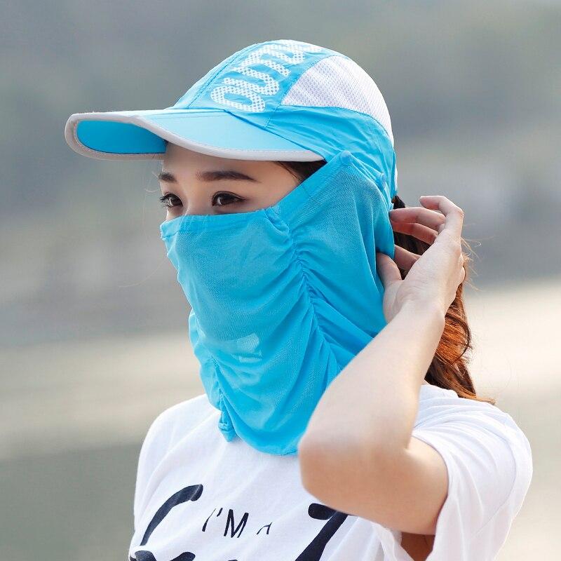 Hat female summer sun cap folding speed dry outdoor sunshade cap female peaked cap covered his face Riding Hat
