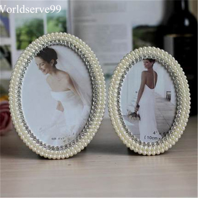 7inch Crystal Pearl Oval Wedding Photo Frame Metal Alloy: Oval Pearl Rhinestone Wedding Photo Frames Alloy Home