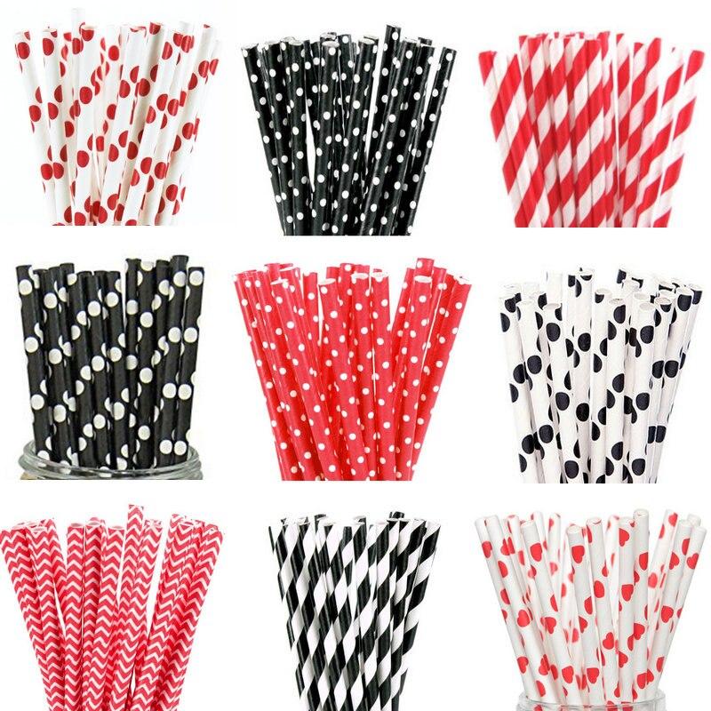 Соломинки бумажные в виде фламинго, черного и красного цветов, 25 шт.