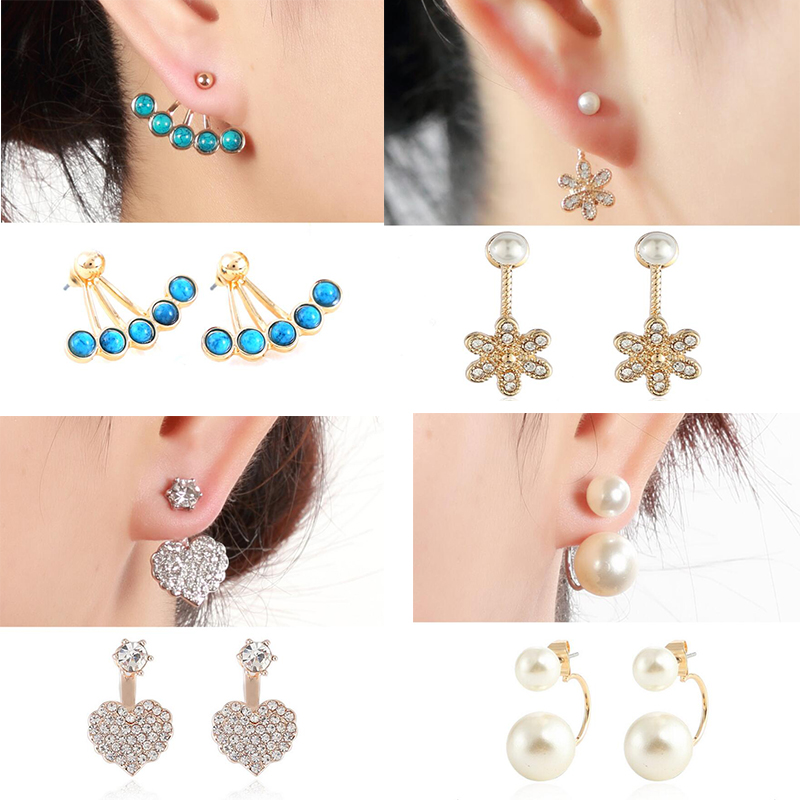 f513054ec Hfarich Tibetan Blue Stone Bead Flower Heart Pearl Earring Jackets for Women  Wedding Geometric Piercing Earing