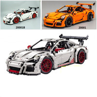 2704pcs White Orange Technic Race Car Model Building Kits Blocks Bricks DIY Toys Compatible With Legoingly 42056 For Kids