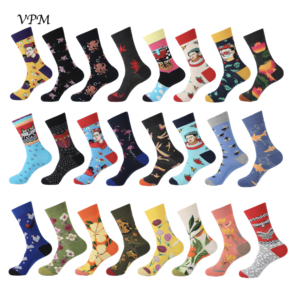 VPM 2019 Combed Cotton Men's Socks Harajuku Colorful Happy Funny Bird Bee Dress Socks For Male Wedding Christmas Gift