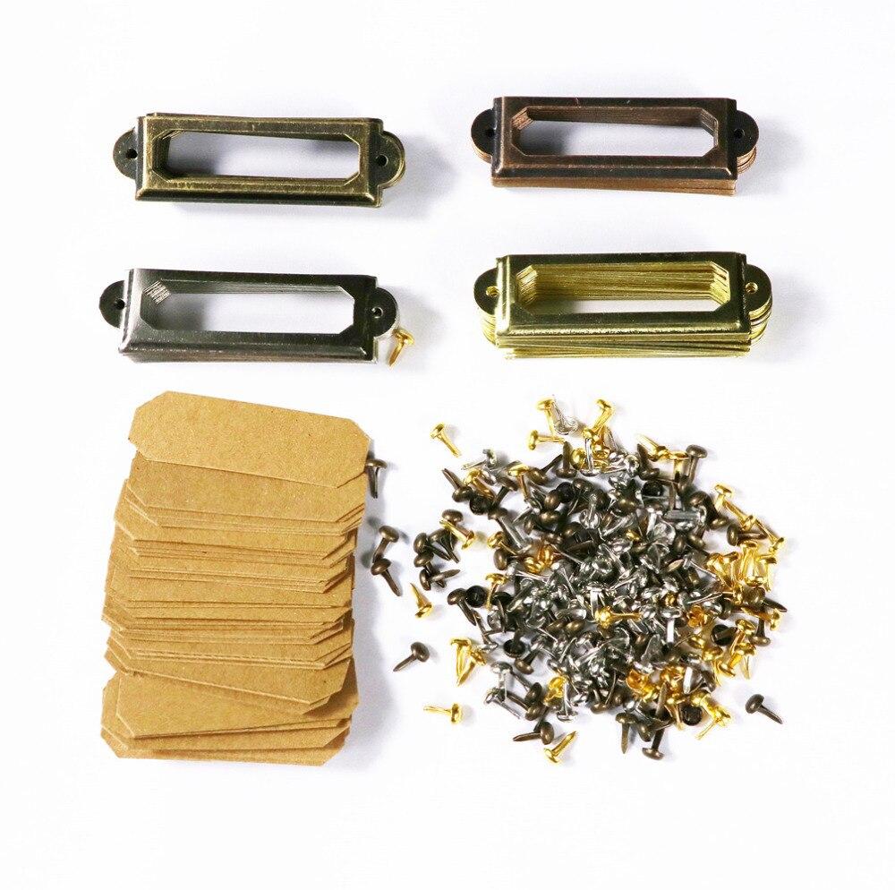 Diy metal etiqueta quadro conjunto com tranças/cartão de papel prata/ouro/bronze/cobre nome tag 1 caixa de 80 pces