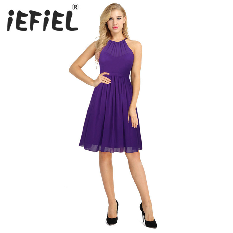 iEFiEL Women Ladies Vintage Sleeveless Spaghetti Halter Chiffon Evening Party Princess Bridesmaid Wedding A-line Summer Dress
