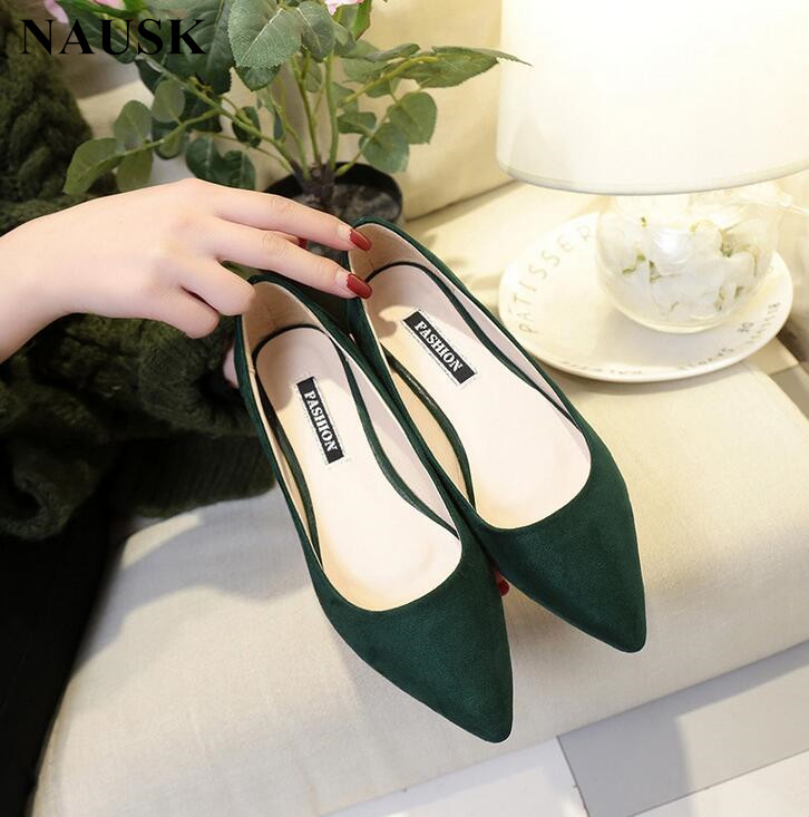 NAUSK New Women Suede Flats Fashion High Quality Basic Mixed Colors Pointy Toe Ballerina Ballet Flat Slip On Shoes