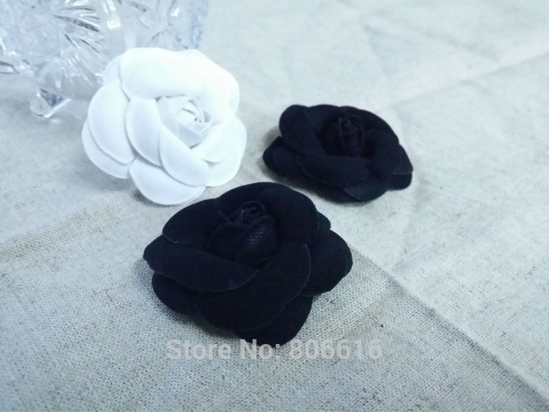 50MM 20Pcs ( Handcrafted & Cloth ) White & Black Fabric Cloth Art Camellia Jewelry Findings&Garment Accessories image