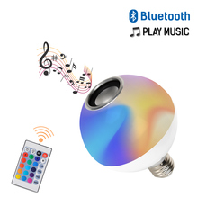 RGB Bluetooth Speaker Smart E27 LED Bulb Light AC110-265V Music Playing Dimmable Wireless Led Lamp with 24 Keys Remote Control