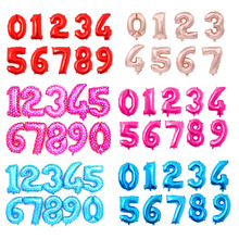 16 32inch Number Balloon Rose Gold Black pink Silver letter Foil Globos Baby Shower Happy Birthday Party Wedding Balloons