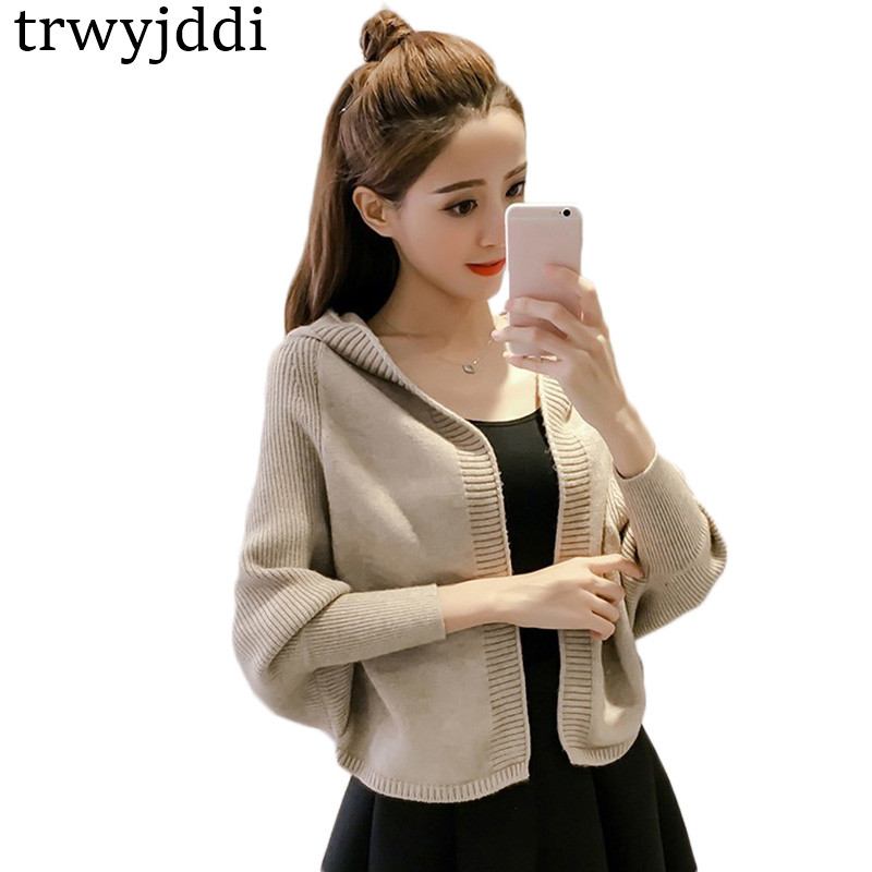 Hooded Sweater Cardigan Women Knit Short Jacket 2018 Fashion New Korean Outside Coat Loose Autumn Solid Female Outwear hl536