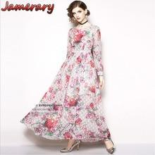 156b351e5b346 Fashion Women Runway Designer Letters Pink Flower Dress Restore Print Plaid  2018 Autumn Winter Maxi Dresses
