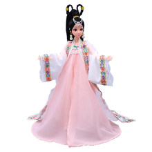 12 Moveable Joints 3D Eyes Chinese Ancient Costume Doll Toys With Accessories Clothes&Jewelry Figure Nake Dolls Toy For Girls(China)