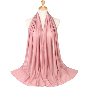 Image 4 - Fashion plain pleat bubble chiffon wrinkle scarf long stripe shawls hijab crumple pashmian muslim scarves/scarf 10pcs/lot