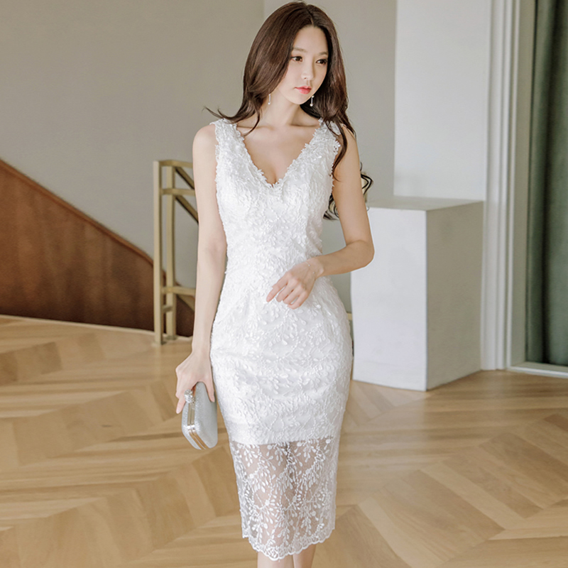 2018 Summer V-Neck Vest Cloth Women Sexy Bodycon Midi Pencil Party Sleeveless White Dress