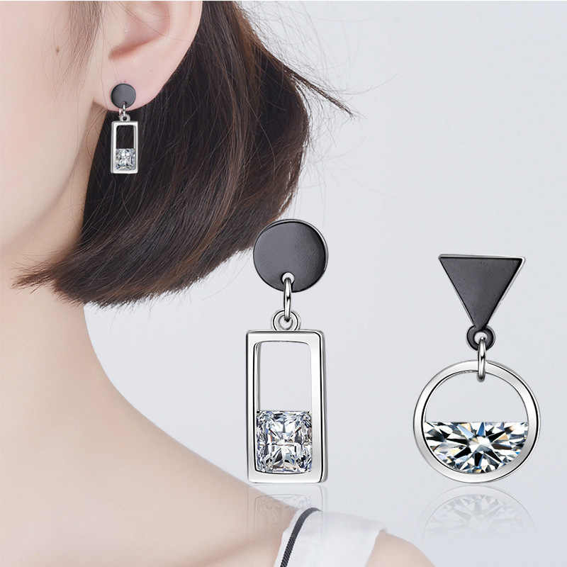 925 Sterling Silver Asymmetry Crystal Round Square Drop Earrings for Women Girl Christmas Gift Jewelry pendientes eh724