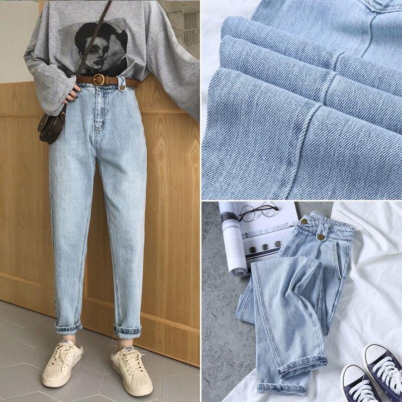 Genuine BUMPERCROP woman jeans 2019 spring new design vintage blue harem boy friend pants loose bleached button girl fashion ins tights