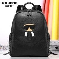 P.KUONE Designer Genuine Leather Deminine Backpacks Women Luxury Brand Shoulder Bag Travel Male School Bag For Teenagers Girls