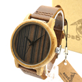BOBO BIRD A23 Bamboo Watches Mens Luxury Brand Quartz Watches Brown Leather Casual Wristwatch Male Clock Relogio Masculino