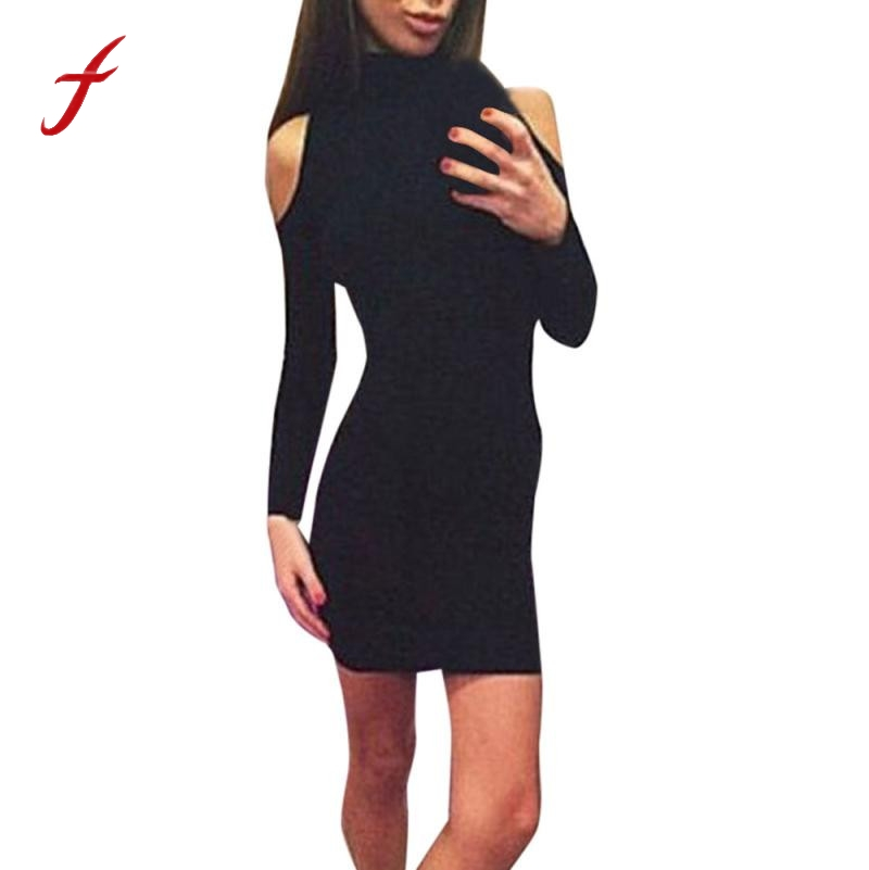 FEITONG Women Autumn Winter Dress Fashion Long Sleeve Knit Bodycon Slim Party Sweater Mini Dresses Sexy Off the Shoulder dress