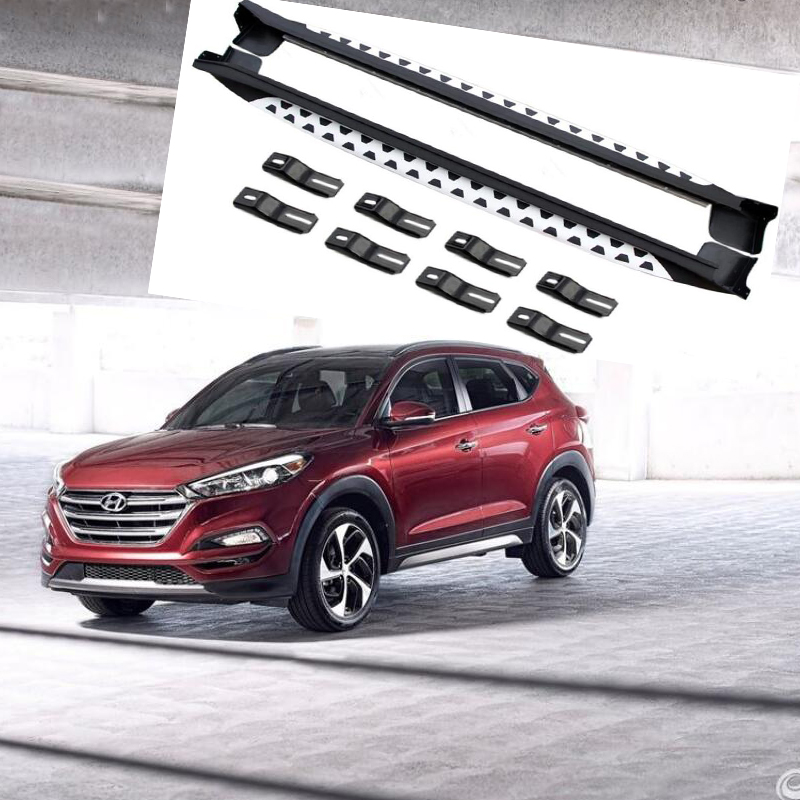 For Hyundai Tucson 2015 2016 2017 2018 2019 Running Boards Auto Side Step Bar Pedals High Quality Grain Design Nerf Bars