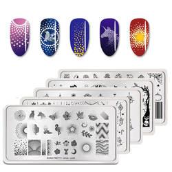 BORN PRETTY пластины для ногтей Фламинго шаблон для ногтей Мандала клен отпечаток листика дизайн ногтей штамп шаблон изображения