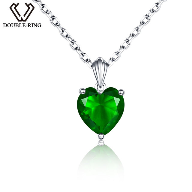 DOUBLE-R Classic Created Emerald Necklaces Real Solid 925 Sterling Silver Neckla
