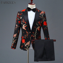 Stylish Embroidery Floral Dress Suit Men Slim Fit One Button Mens Suits With Pants Stage Singer Wedding Groom Tuxedo Costume 4XL