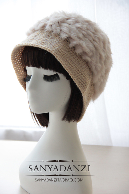 high Quality women's rabbit fur bucket hats autumn and winter real fur hat warm thick  fashion female cute ear cap