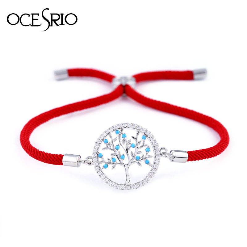 OCESRIO Friends Zircon Tree of Life Bracelet Woman Men Red Thread Couple Bracelets for Lovers lucky charms homme femme brt-a67(China)