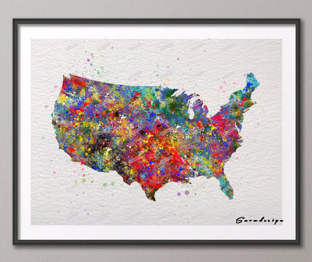 United States Map Canvas Wall Art.Original Watercolor United States Map Wall Art Canvas Painting