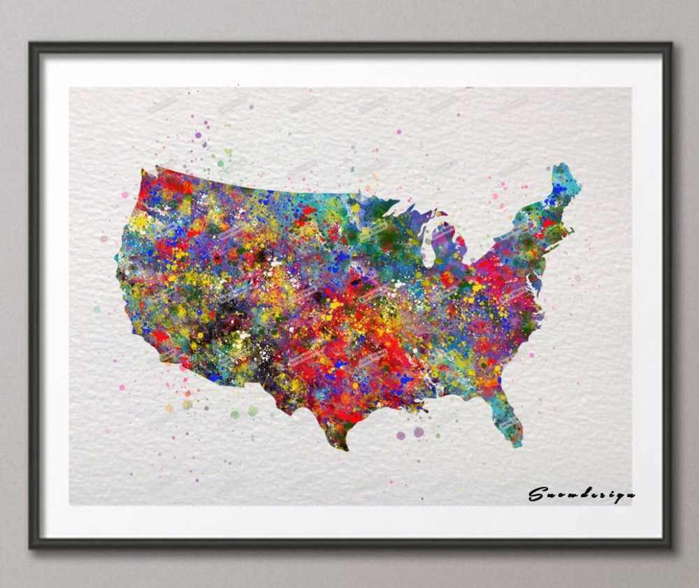 united states map painting Rikivity Original United States Map Wall Art Canvas Painting