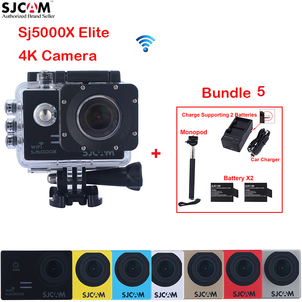 2.0 SJCAM Sj5000 Series SJ5000X Elite WiFi Waterproof Sports Action Camera Sj Cam DV + 2 Battery+Dual Wall+Car Charger +Monopod original sjcam m20 wifi 4k 24fps 30m waterproof sports action camera sj cam dvr 2 extra battery dual charger remote monopod