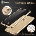 Baseus ultrafino electroplate caso TPU macio transparente para iPhone 6 6 s 4.7 ''brilhante tampa traseira Para 6 plus 5.5'' opcional