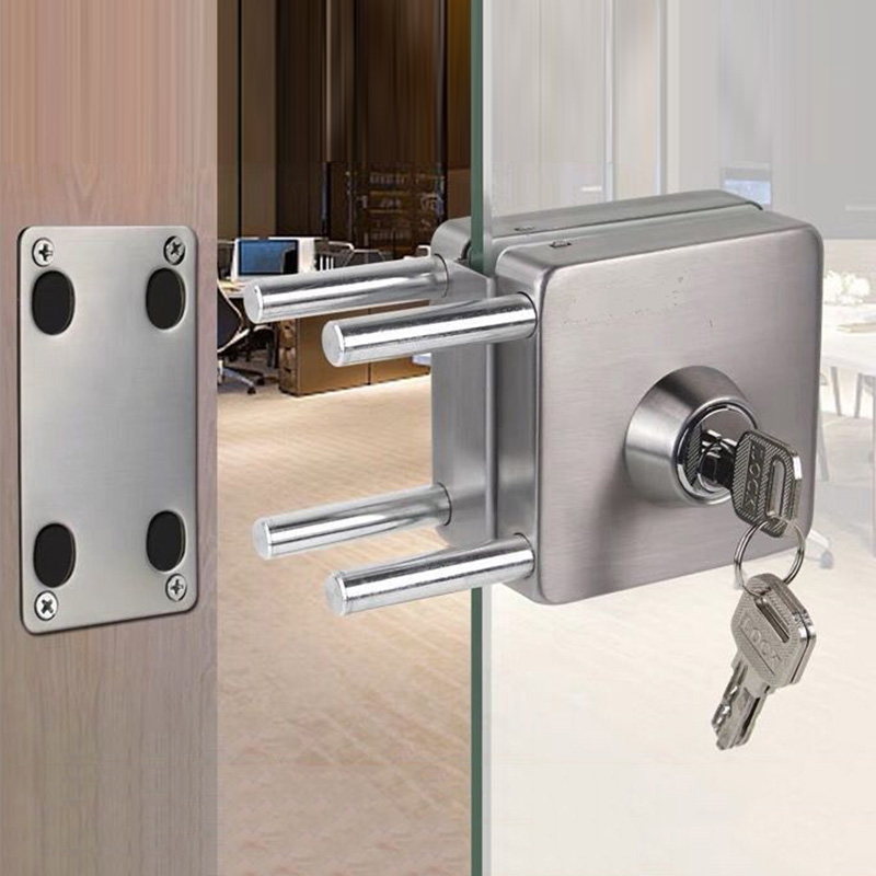 Stainless Steel 10 12mm Glass Door Lock Double Sides Open No Drilling Gate Lock _Wk