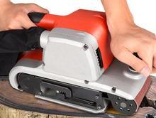 все цены на 4 inch belt machine portable sanding machine tank plane grinding machine small polishing machine woodworking household sandpaper онлайн