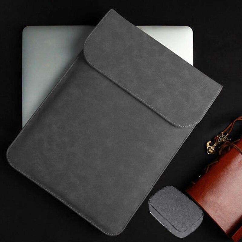 Couro do plutônio bolsa de manga portátil para macbook ar pro retina 11 12 13 mac livro 15 touch bar 2018 caso para xiaomi 15.6 mulher capa masculina