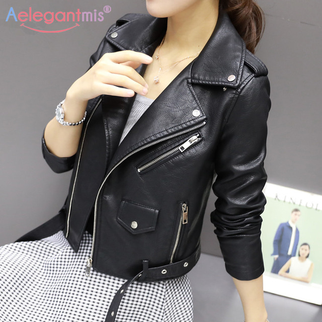 Autumn New Short Faux Soft Leather Jacket Women 3