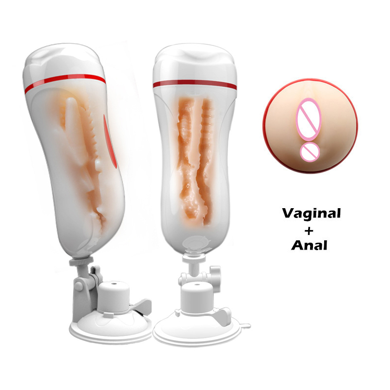 Handsfree Vagina Anal Double Tunnels Oral Aircraft Cup Masturbation Cup Sex Toys For Men Male Masturbator With Suction Cup O1 easy love l male masturbator automatic sex machine hands free retractable masturbation cup piston telescopic sex toys for men