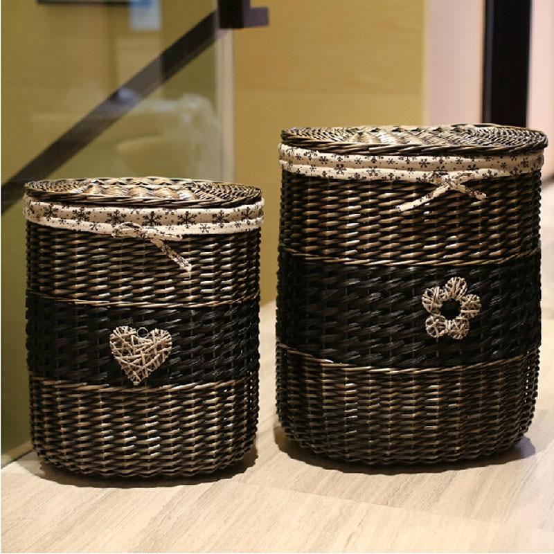Home Organization Small & Large Wicker Storage Baskets With Lids Vintage Grey Black Big
