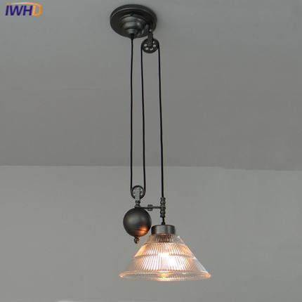 IWHD Glass Vintage Lamp Hanging Lamp Loft Style Industrial Iron Ball Pendant Lights Adjustable pulley Retro Lighting Fixtures new loft vintage iron pendant light industrial lighting glass guard design bar cafe restaurant cage pendant lamp hanging lights