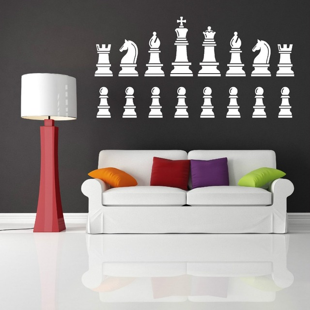 Chess Set Pieces King Queen Knight Wall Sticker Home Decor Vinyl Art Decal Diy Mural Removable