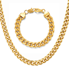 Hip Hop 5mm/8mm/10mm Stainless Steel Curb Cuban Chain Necklace Bracelet Boys Mens Fashion Dragon Clasp jewelry Sets N1399