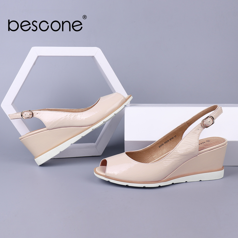 BESCONE Women Sandals Wedges Pleated Patent Leather Apricot Peep Toe Female Summer Shoes Handmade Career Dress Lady Sandals BS1