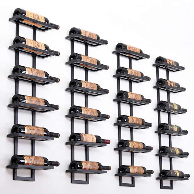 modern iron wall mounted wine holder simple hanging wine rack holder iron art wine support cabinet flat tilted types 2 6 bottles