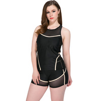 Split swimsuit sports boxer shorts trousers vest Three piece swimsuit large size women with chest pad without steel support